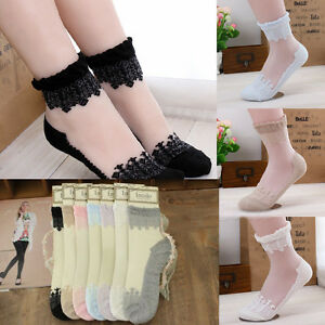 Women Invisible Transparent Lace Floral Design Elastic Short Socks Stockings