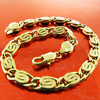 FSA672 GENUINE REAL 18K  YELLOW G/F GOLD SOLID MENS ITALIAN LINK BRACELET BANGLE