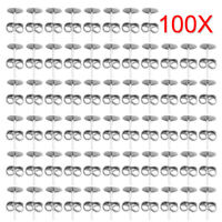 100 Sterling Silver Stud Post Earring Findings with Round Flat Pad for Cabochons
