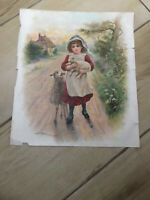 Antique Original Victorian Nursery Rhyme Poster. Mary Had A Little Lamb. C 1890