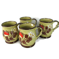 Vintage Set of 4 70's Brown Coffee Mugs Strawberries Cream Flower Stoneware