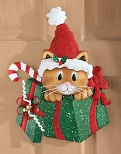 Christmas Glittery Gift Box and Kitty Cat Wall Art Decoration