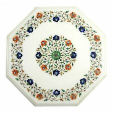 "18"" Marble Side Table Top semi precious stones inlay Handmade Home Decor"