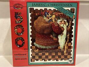 James C Christensen OLDE WORLD SANTA 500 Piece Jigsaw Puzzle SEALED Corkboard