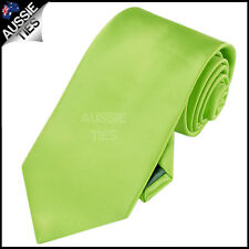 MENS LIME GREEN 8.5CM TIE necktie wedding plain bright solid
