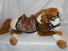 "Soft Classics My Size 40"" sit on Palamino Horse, saddle, feather headdress"
