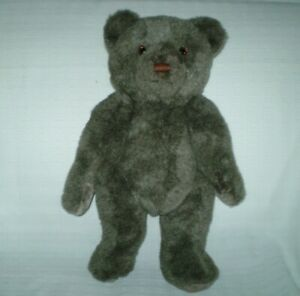 """Applause 1985 VTG Jointed Teddy Bear Plush 18"""" Stitched Nose Dark Brown Fur RARE"""