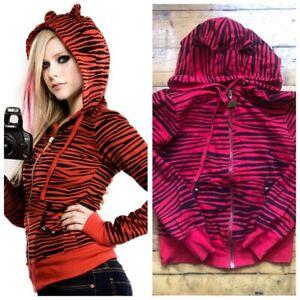 Abbey Dawn Avril Lavigne Red Zebra Print Hoodie Size Small RARE 2008