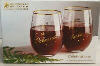 Maxwell & Williams Celebrations Stemless Glasses Pair Boxed MIB 500ml FK0011