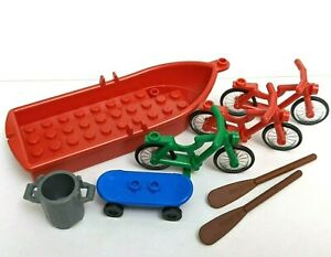 Lego City Riding Bicycle Green Blue Skateboard Red Boat & Oars Vehicle Lot