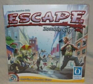 """Queen Games """"Escape Zombie City"""" A real time Adventure Game ~2-4 Players Age 10+"""