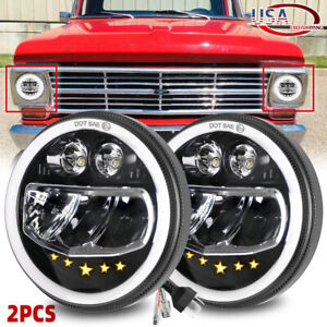"""for Ford F-100 Pickup Pair 120W 7"""" Round Led Headlight High/Low Sealed Beam Bulb"""