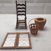 Miniature Doll House Lot Shackman Rocking Chair Baskets Tin Pie Safe Doors