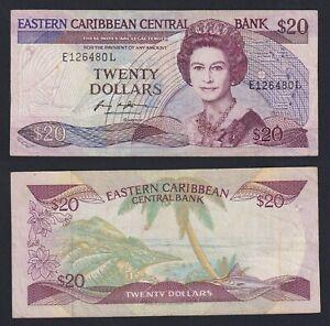 East Caribbean  20 dollars 1987(93) BB/VF  A-07
