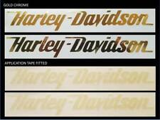 ** CHROME GOLD **  2 x HARLEY DAVIDSON style Tank decal sticker