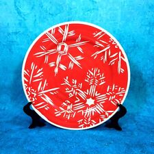 Threshold RED SNOWFLAKE Melamine Vintage Look Christmas Dinner Plate NEW W/ Tags