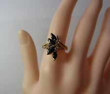 14K 14KT Yellow Gold Blue Sapphire Diamond Size 6.5 Ring 3.8 Grams STYLE CREST