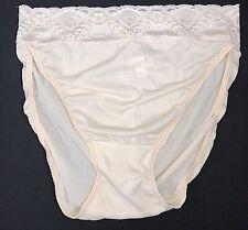 Bali · Beige Sheer Nylon & Lace Hi-Cut / High Leg Panty · XL/8