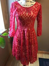 FREE PEOPLE SIZE 4 DRESS RED FLORAL SHEER TOP