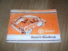 1980 GENUINO TALBOT Propietarios Manual (Sunbeam/Horizonte/Samba? 1.0/1.3/1.6 L)