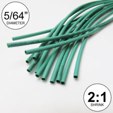 "5/64"" ID Green Heat Shrink Tube 2:1 ratio wrap (14x9"" = 10 ft) inch/feet/to 2mm"