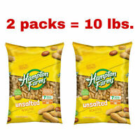 Pack of 2,Hampton Farms Unsalted In-Shell Peanuts(5lbs each)Total 10 lbs