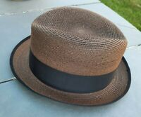 Vintage Barcelona Fedora Hat Imported Straw Size 7 1/4 Brown great condition