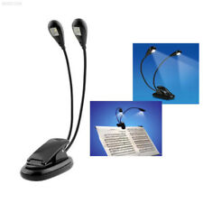 4D9F Hot Dual Arm 2 LED Stand Book Light For Pianos Music Stand Schools Clubs