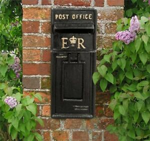 Post Office ER Letter Box Victorian Classic Traditional Black Painted Steel cast