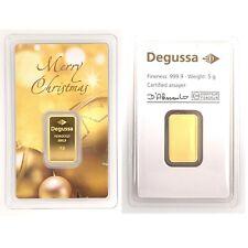 5 Gram Degussa Fine Gold Bar- Assayed .9999 Pure Fine Gold Bullion