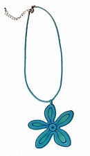 FLATTERING 60S FASHION TURQUOISE ROPE CHOKER BIG FLOWER PENDANT UNIQUE (ZX16)