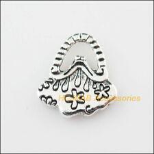 15 New Flower Handbag Charms Tibetan Silver Tone Pendants 14x16mm