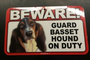 Laminated Card Stock Sign- Beware! Guard Basset Hound On Duty