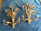 ANT VTG  PAIR ITALIAN FLORAL TOLE WALL SCONES W/ LIGHTS HOLLYWOOD REGENCY STYLE