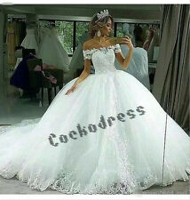 Gorgeous Off Shoulder Appliques Tulle Wedding Dress White/Ivory Ball Bridal Gown