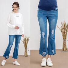 Overbumped Jeans Flares Pants Maternity Pregnancy Trousers Blue Slim Comfy M/L