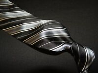 Pronto Uomo men's Black & Silver stripe 100% silk necktie TIE. 57X3.3/4