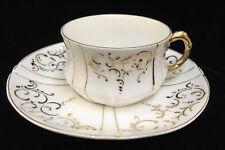 Demitasse Cup & Saucer Gold Gilt Scrolling Scrolls Loops Porcelain China Vintage
