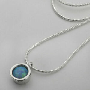 Shablool blue Simulated Opal Sterling Silver 925 Pendant for Lady