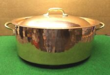 COPPER / LARGE OVAL HAMMERED COPPER POT WITH LID TIN LINED MADE IN FRANCE
