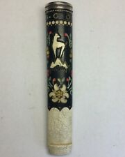 Antique 900 Sterling Silver & 5 Color Enamel & Bone Stem Cigarette Holder