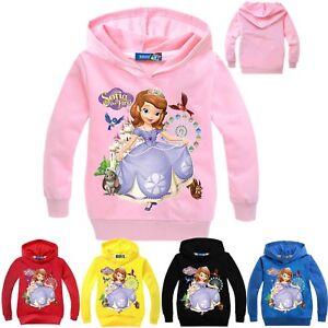 Sophia Princess Kids Girls SweatShirt Hoodies Cartoon Casual Tops SweatShirt