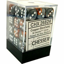 Chessex Dice d6 Sets Gemini Copper & Steel White 12mm Six Sided 36 Die CHX 26824