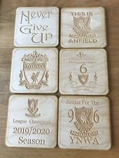 Set of 6 Individual Liverpool FC Square Wooden Coasters