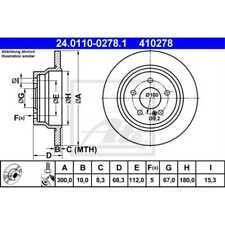 ATE 2x Bremsscheiben Voll beschichtet 24.0110-0278.1