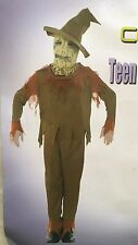Teen Pumpkin Scarecrow Halloween Costume Evil Scary Horror Party Outfit
