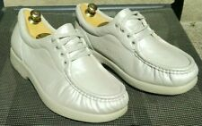 """SAS """"Take Time"""" Lace Up Loafer Shoes MADE IN USA Ivory Leather Womens US7.5 WIDE"""