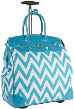 Chevron Rolling Wheeled Overnight Bag Trolley Carry On Womens Ladies Laptop