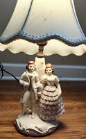 Antique Victorian Man and Woman Porcelain  Table Lamp with shade/white/1940s