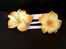 Hawaii Barrettes Duo 6cm Fleurs de Frangipanier Orange Blanc Orange